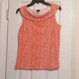 Orange Sleeveless Blouse
